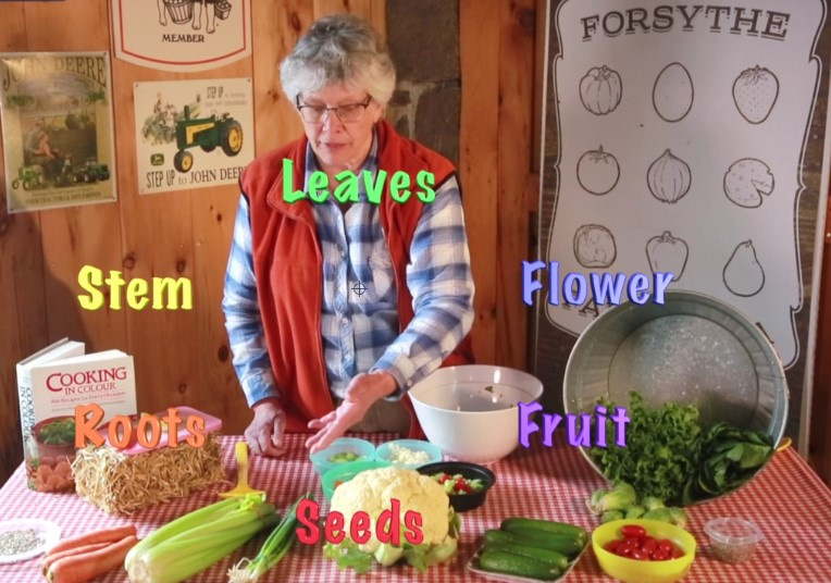 Leslie Forsythe making salad